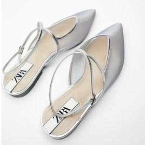 New Mesh silver ballet flats with straps
